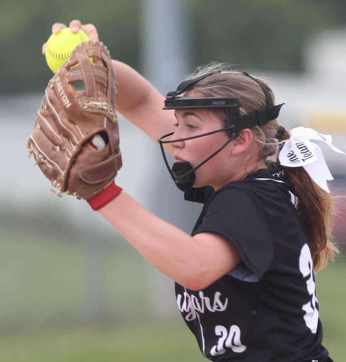 West Central's Rylee Burk delivers a pitch against Griggsville-Perry.