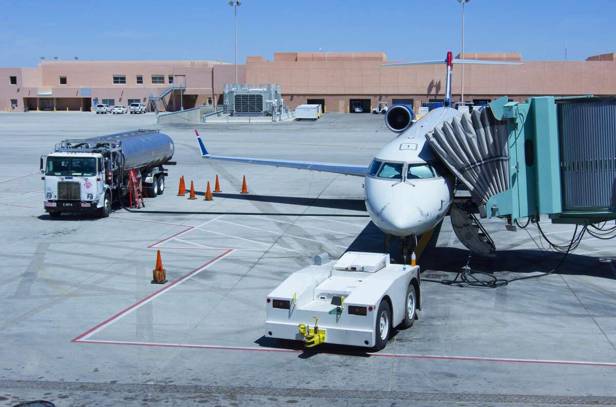 An aircraft being refueled at Albuquerque International Sunport airport in Albuquerque, New Mexico.