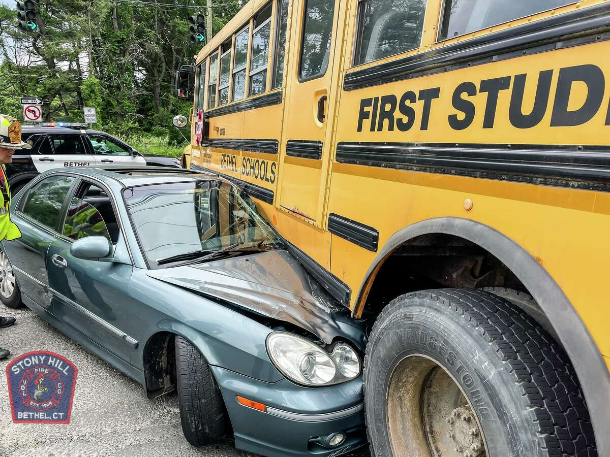 A ride home from school became anything but normal Wednesday afternoon, when a bus carrying four children was struck by a car in Bethel, Conn.