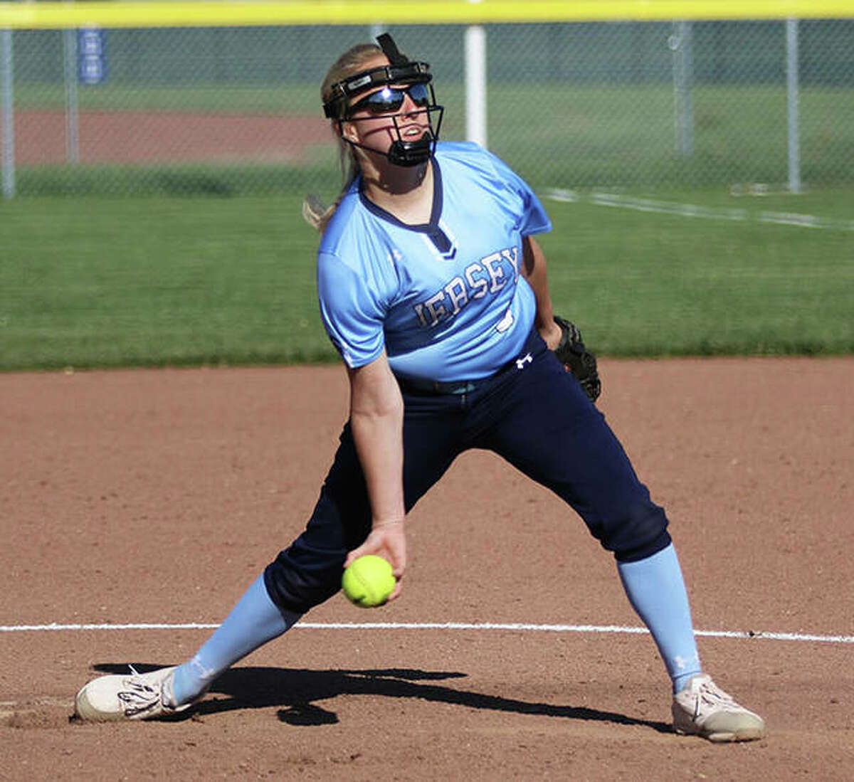Jersey pitcher Shelby Koenig limited Triad to two runs and the Panthers advanced with a Class 3A regional win in Troy. She is shown in action earlier this season.