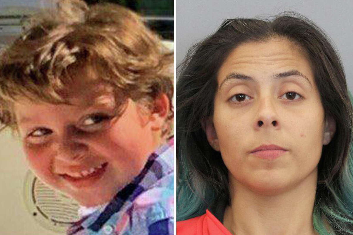 Theresa Balboa (right), the girlfriend of the father of 6-year-old Samuel Olson (left), was arrested and charged with tampering with evidence in his disappearance.