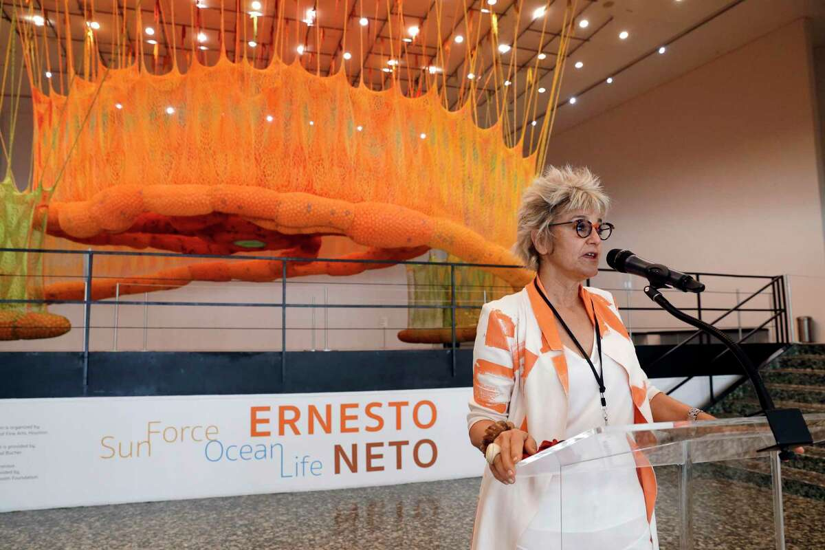 """Mari Carmen Ramirez, Wortham Curator of Latin American Art and founding director of the International Centeer of the Arts of the Americas, speaks during a pre-opening look at the new interactive art installation by Brazilian artist Ernesto Neto, titled """"SunForceOceanLife"""", at the Museum of Fine Art Houston Saturday, May 29, 2021 in Houston, TX."""