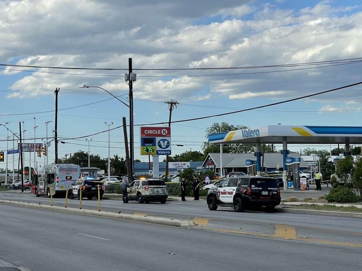 San Antonio police investigate the scene where VIA Metropolitan Transit police shot and killed a man accused of waving a handgun on a bus April 20, 2021.