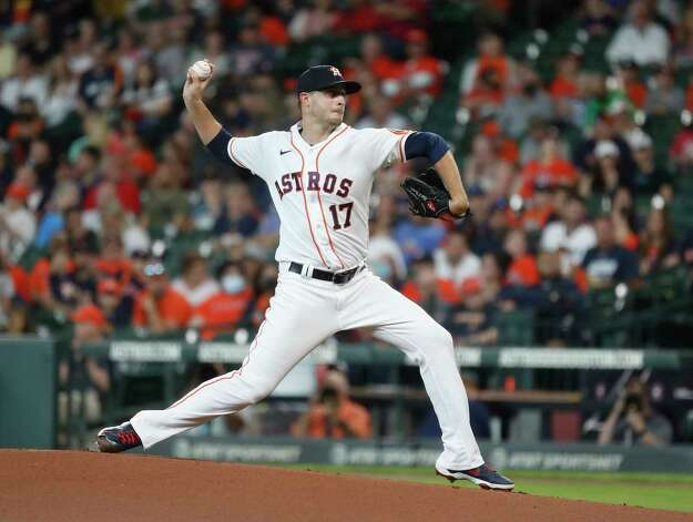 Houston Astros starting pitcher Jake Odorizzi (17) pitches during the first inning of an MLB baseball game at Minute Maid Park, Thursday, June 3, 2021, in Houston. Photo: Karen Warren, Staff Photographer / @2021 Houston Chronicle
