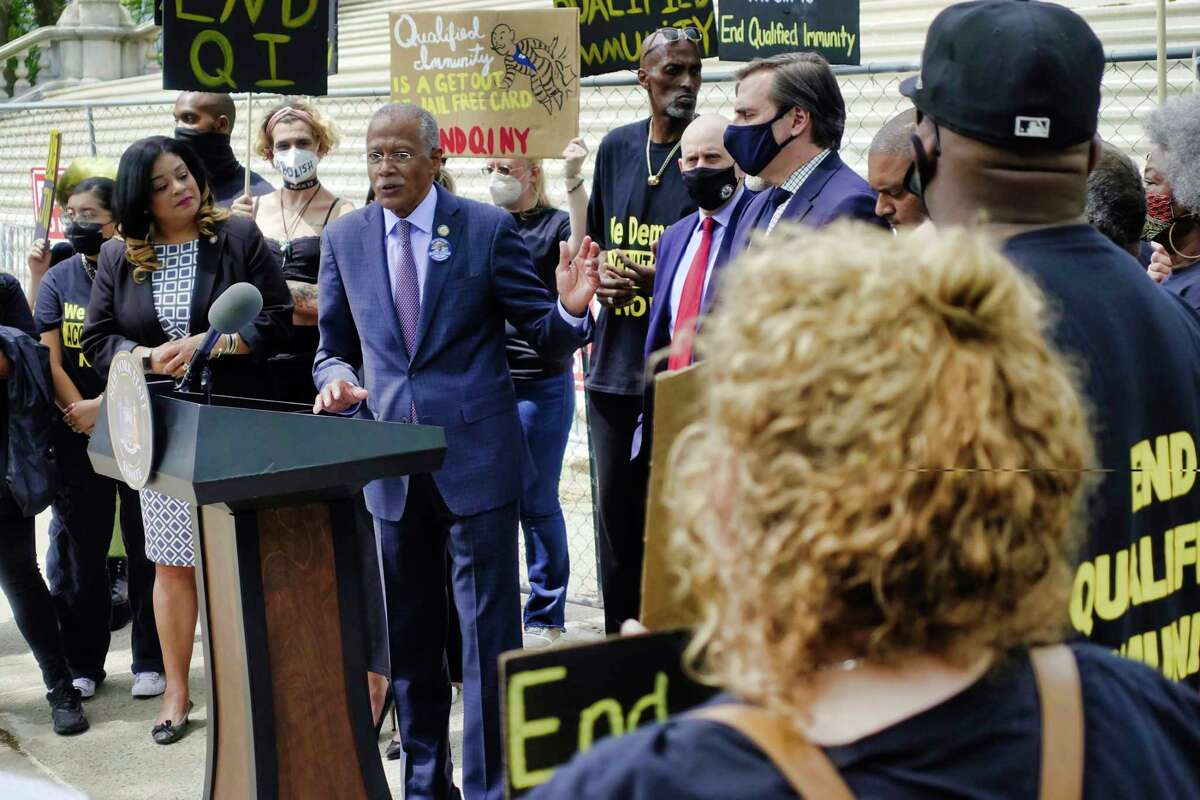Senator Robert Jackson speaks at a rally held to call for the end of qualified immunity on Wednesday, June 2, 2021, in Albany, N.Y. (Paul Buckowski/Times Union)
