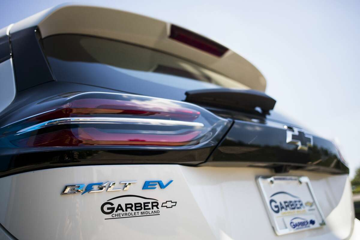The 2022 Chevrolet Bolt EV, a fully electric vehicle, is available for sale at Garber Chevrolet in Midland. (Katy Kildee/kkildee@mdn.net)