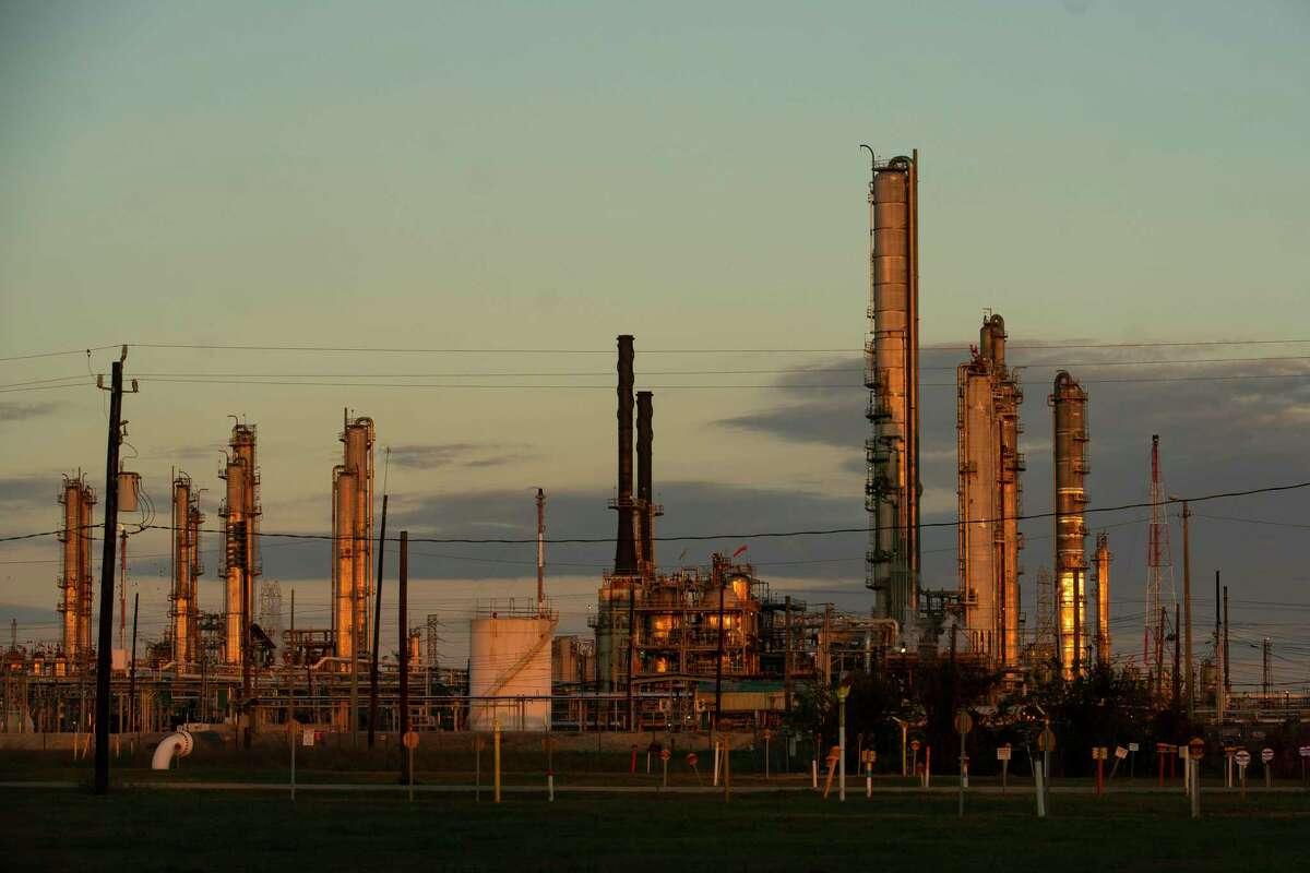 Part of the ExxonMobil facility in Baytown, TX, Thursday, Nov. 12, 2020.
