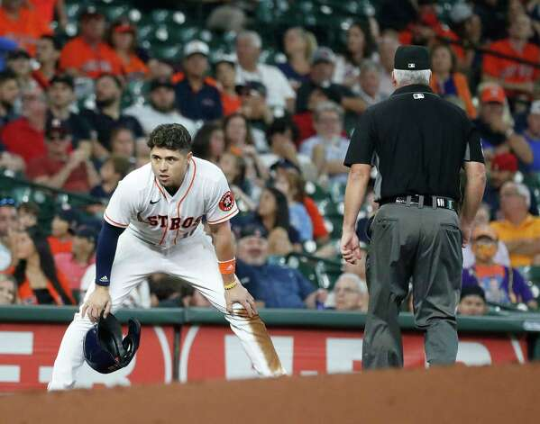 Houston Astros Aledmys Diaz (16) reacts on third base after getting caught stealing to end the first inning of an MLB baseball game at Minute Maid Park, Thursday, June 3, 2021, in Houston. Photo: Karen Warren, Staff Photographer / @2021 Houston Chronicle