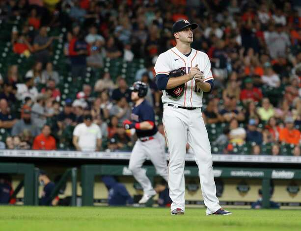Houston Astros starting pitcher Jake Odorizzi  reacts after giving up a three-run home run to Boston Red Sox Christian Arroyo (39) during the second inning of an MLB baseball game at Minute Maid Park, Thursday, June 3, 2021, in Houston. Photo: Karen Warren, Staff Photographer / @2021 Houston Chronicle