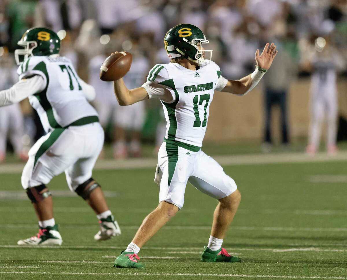 AJ Abbott (17) of the Stratford Spartans attempts a pass in the second half against the Memorial Mustangs during a High School football game on Friday, October 30, 2020 at Tully Stadium in Houston Texas.