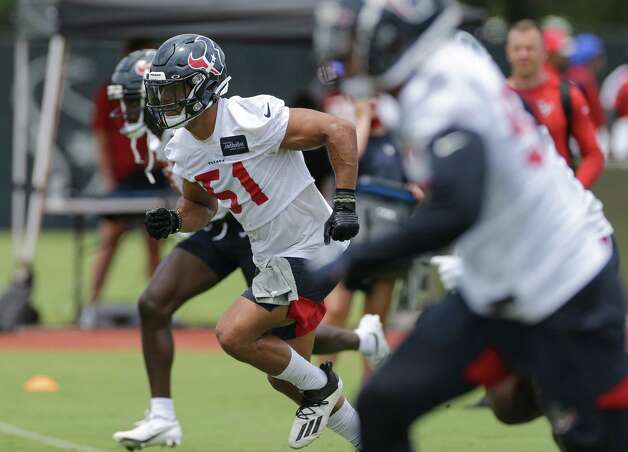 Houston Texans linebacker Kamu Grugier-Hill (51) takes part in a special teams drill during an OTA practice at the Houston Methodist Training Center on Thursday, June 3, 2021, in Houston. Photo: Godofredo A. Vásquez, Staff Photographer / © 2021 Houston Chronicle