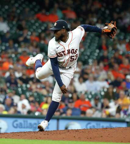 Houston Astros relief pitcher Cristian Javier (53) pitches with the bases loaded during the fifth inning of an MLB baseball game at Minute Maid Park, Thursday, June 3, 2021, in Houston. Photo: Karen Warren, Staff Photographer / @2021 Houston Chronicle