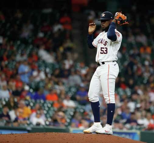 Houston Astros relief pitcher Cristian Javier (53) reacts after loading the bases during the fifth inning of an MLB baseball game at Minute Maid Park, Thursday, June 3, 2021, in Houston. Photo: Karen Warren, Staff Photographer / @2021 Houston Chronicle