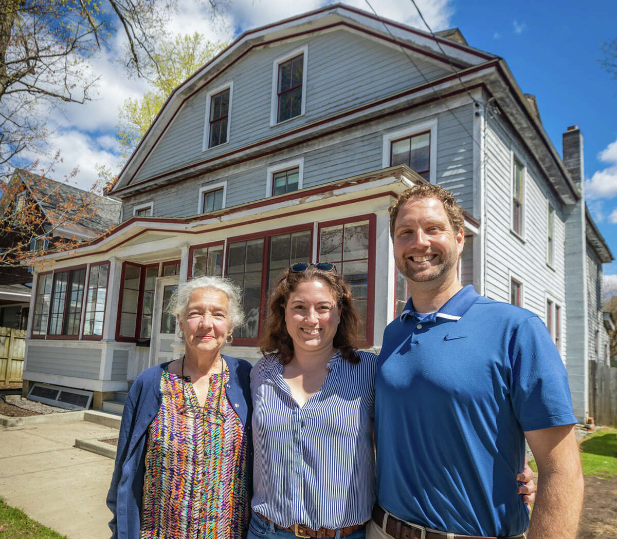 """""""This Old House"""" is filming in Saratoga Springs. The house isa sixth-generation Dutch Colonial, home to Evan Williamson. The homeowners, Susan Williamson with her son, Evan, and his wife, Whitney, who plan to raise a family in the home."""