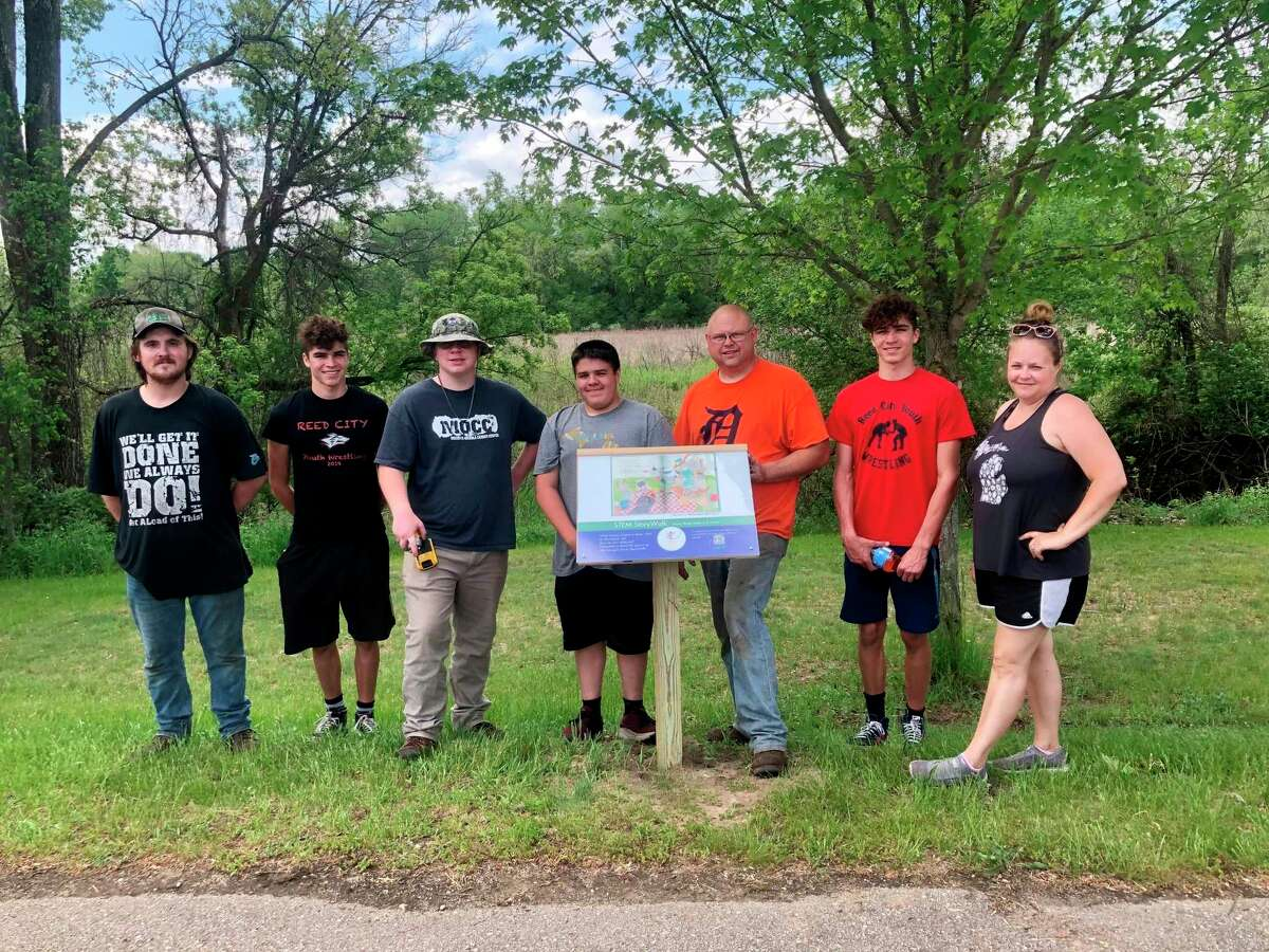 The StoryWalk project was constructed in Westburg Park with the help of some Boy Scout volunteers from Reed City Troop 74 and members of the Cargill Cares Team volunteers. (Photo Courtesy/Lyndsey Eccles-Burchett)
