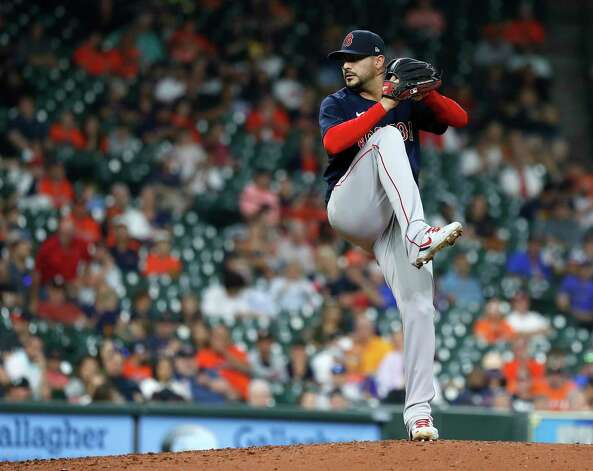Boston Red Sox starting pitcher Martin Perez (54) pitches during the sixth inning of an MLB baseball game at Minute Maid Park, Thursday, June 3, 2021, in Houston. Photo: Karen Warren, Staff Photographer / @2021 Houston Chronicle