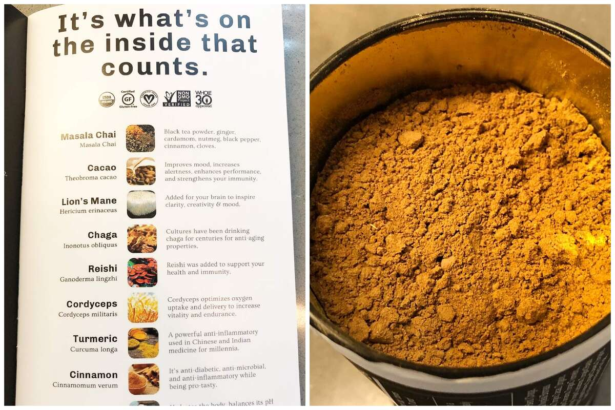 At left, the ingredient list from the MUD\WTR 30 Serving Starter Kit; at right, the powder to make one of the drinks.