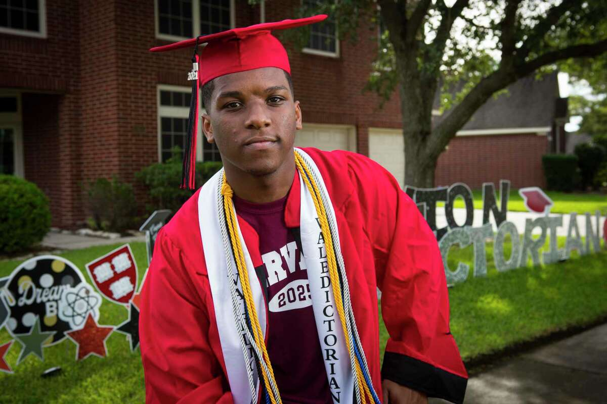 Westfield High School valedictorian Da'Vion Tatum poses for a portrait Tuesday, June 1, 2021 in Houston. The Harvard University-bound senior was accepted into seven Ivy League colleges,and offered $700,000 in scholarships. Tatum says he taught himself algebra in first grade.