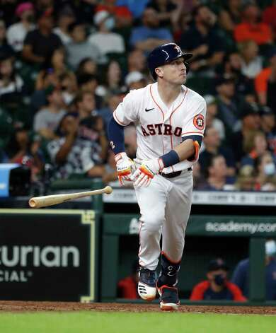 Houston Astros Alex Bregman (2) flies out to Boston Red Sox center fielder Danny Santana to end the eighth inning of an MLB baseball game at Minute Maid Park, Thursday, June 3, 2021, in Houston. Photo: Karen Warren, Staff Photographer / @2021 Houston Chronicle