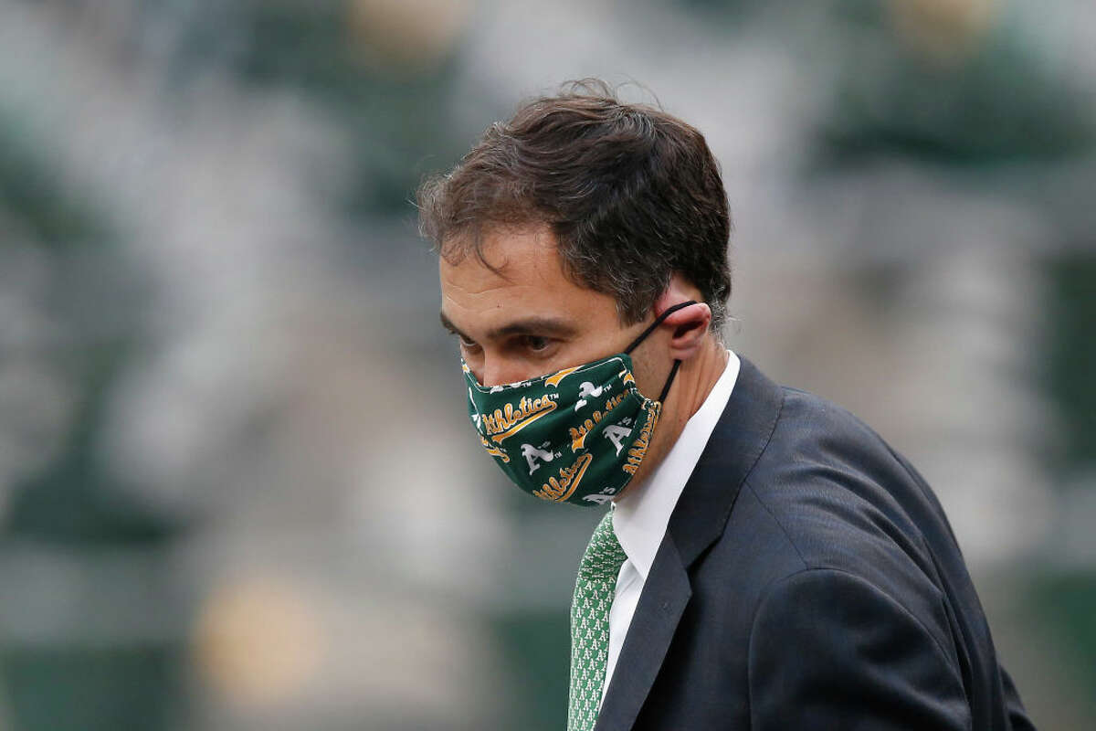 Oakland Athletics President Dave Kaval looks on during the game between the Oakland Athletics and the Texas Rangers at Oakland-Alameda County Coliseum on Aug. 5, 2020, in Oakland, Calif.
