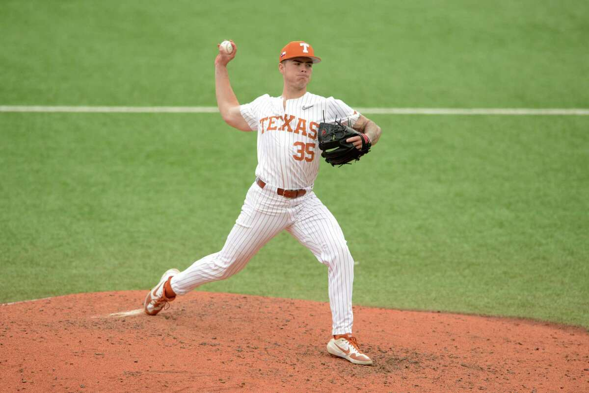 Texas Longhorns relief pitcher Tristan Stevens makes a throw during game against the Boise State Broncos on Feb. 23, 2020 at UFCU Disch-Falk Field in Austin, TX. (Photo by John Rivera/Icon Sportswire via Getty Images)