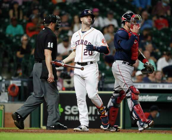 Houston Astros Chas McCormick (20) reacts after striking out to end the ninth inning of an MLB baseball game at Minute Maid Park, Thursday, June 3, 2021, in Houston. Photo: Karen Warren, Staff Photographer / @2021 Houston Chronicle