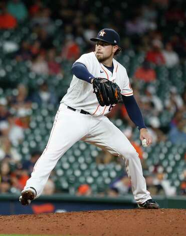 Houston Astros relief pitcher Blake Taylor pitches during the ninth inning of an MLB baseball game at Minute Maid Park, Thursday, June 3, 2021, in Houston. Photo: Karen Warren, Staff Photographer / @2021 Houston Chronicle