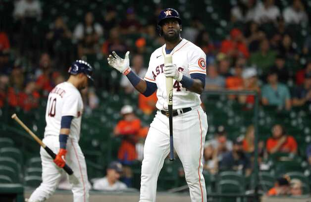 Houston Astros Yordan Alvarez (44) reacts after striking out during the ninth inning of an MLB baseball game at Minute Maid Park, Thursday, June 3, 2021, in Houston. Photo: Karen Warren, Staff Photographer / @2021 Houston Chronicle