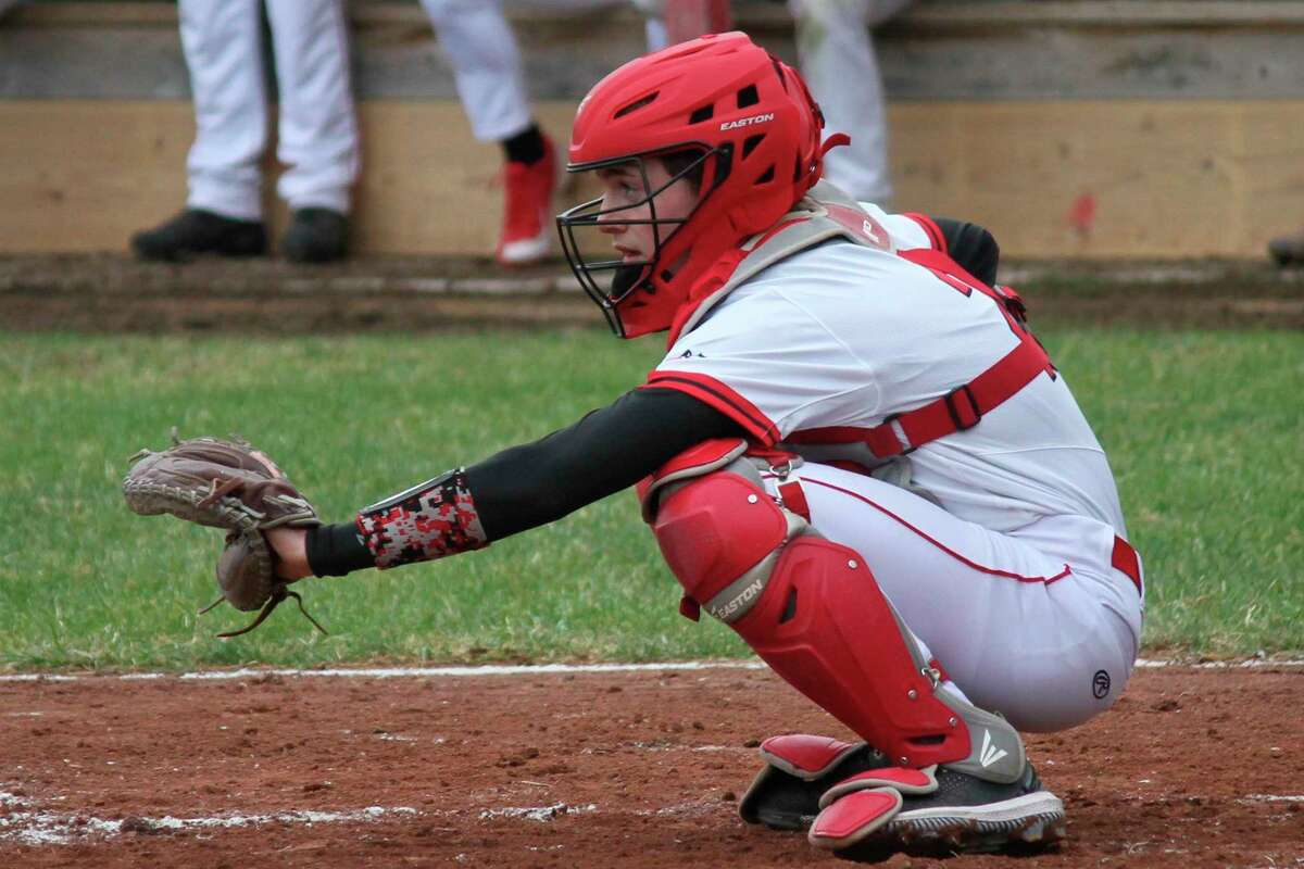 Benzie Central catcher Sam Ross waits on a pitch during a game earlier this spring. (Record Patriot file photo)