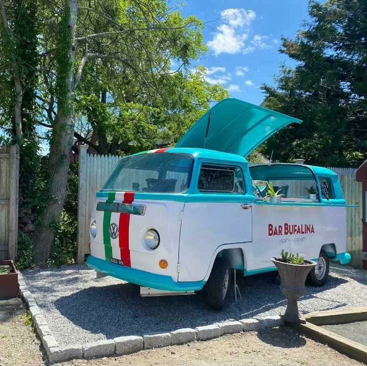 Bufalina's new outdoor bar is a converted VW Bus, with space for cocktail and food prep.