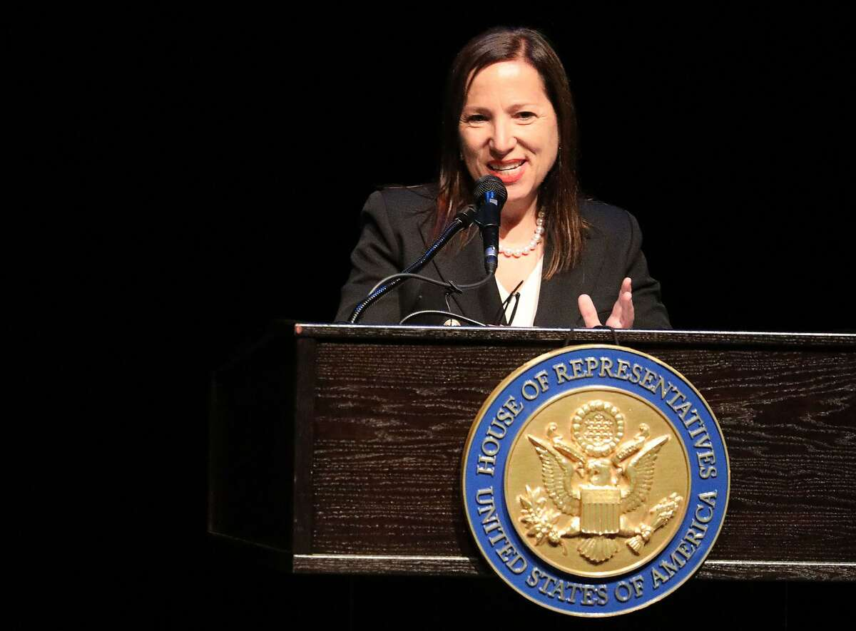 Lieutenant Governor Eleni Kounalakis speaks in place of Governor Gavin Newsom during the memorial service for former congresswoman Ellen Tauscher at the Lesher Center for the Arts on Thursday, June 6, 2019 in Walnut Creek, Calif.