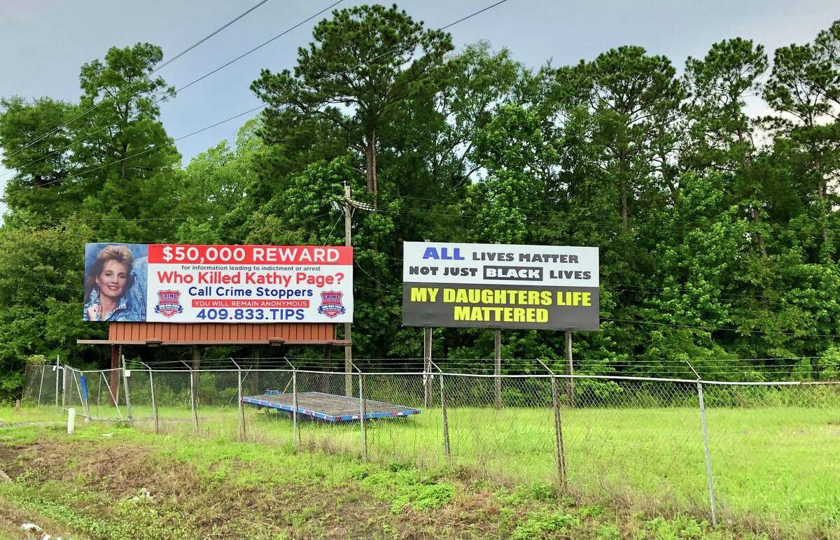 One of the now iconic billboards placed off of Interstate 10 between Vidor and Beaumont has been updated to reflect a $50,000 reward for information in the unsolved murder of Kathy Page. Her father, James Fulton, has been placing billboards around the area since shortly after her death in 1991. Photo taken June 3, 2021