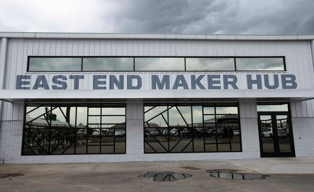 The exterior sign of East End Maker Hub, a 21-acre campus for traditional manufacturing, hardware innovations, fabricators and biomanufacturing and medical device companies, is photographed Thursday, June 3, 2021, in Houston. The hub aims to turn the East End which has roots in the manufacturing industry, into a national manufacturing hub once more.