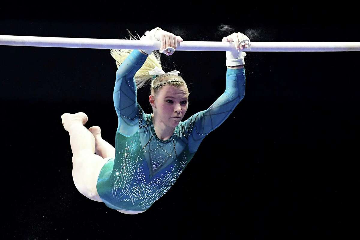 Jade Carey, competing on the bars at the U.S. Classic earlier this year, already has earned an individual spot in Tokyo.