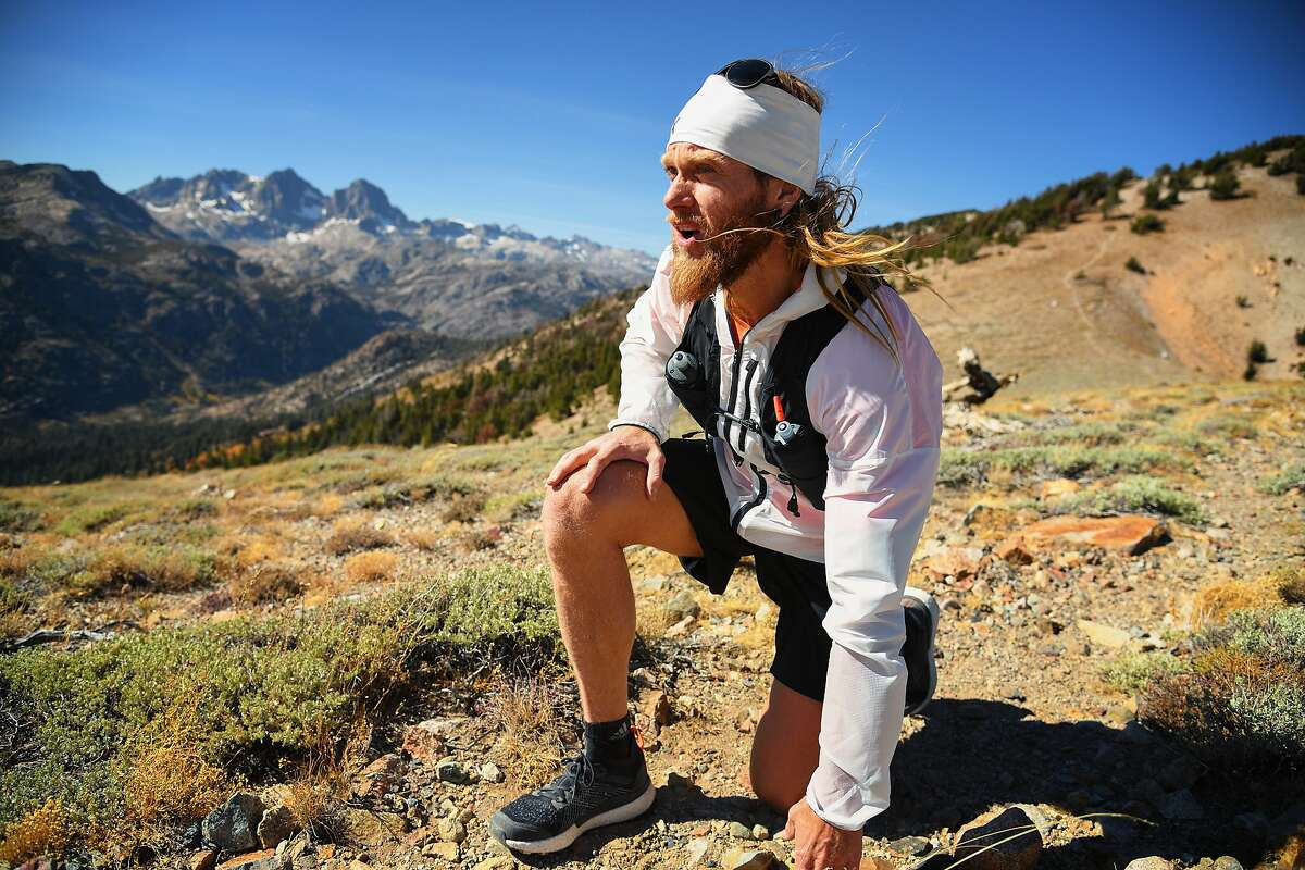Timothy Olson pauses his record-attempt trek on the Pacific Crest Trail.