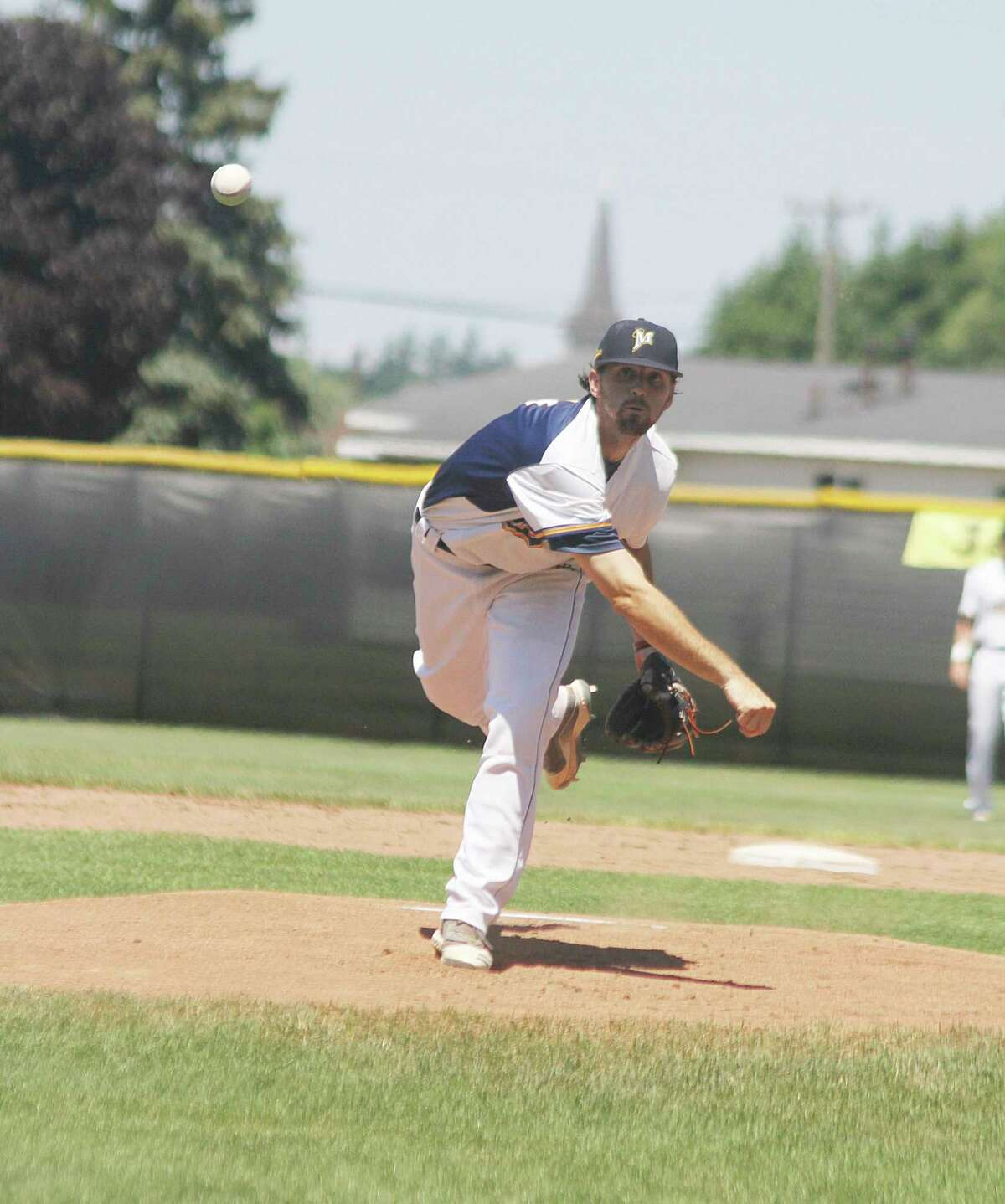 Player-manager Roddy MacNeil and the Manistee Saints will kick off their 2021 campaign this weekend with a doubleheader on the road Saturday and a doubleheader at Rietz Park on Sunday. (News Advocate file photo)