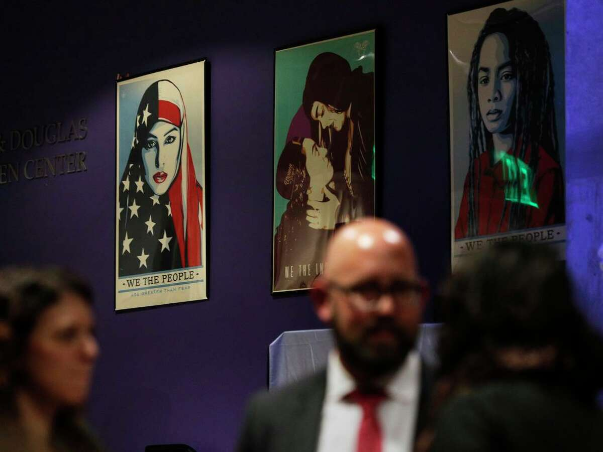 Posters of activist organizations are seen at a workshop for teens learning to become activists at the San Francisco Jewish Community Center in 2018.