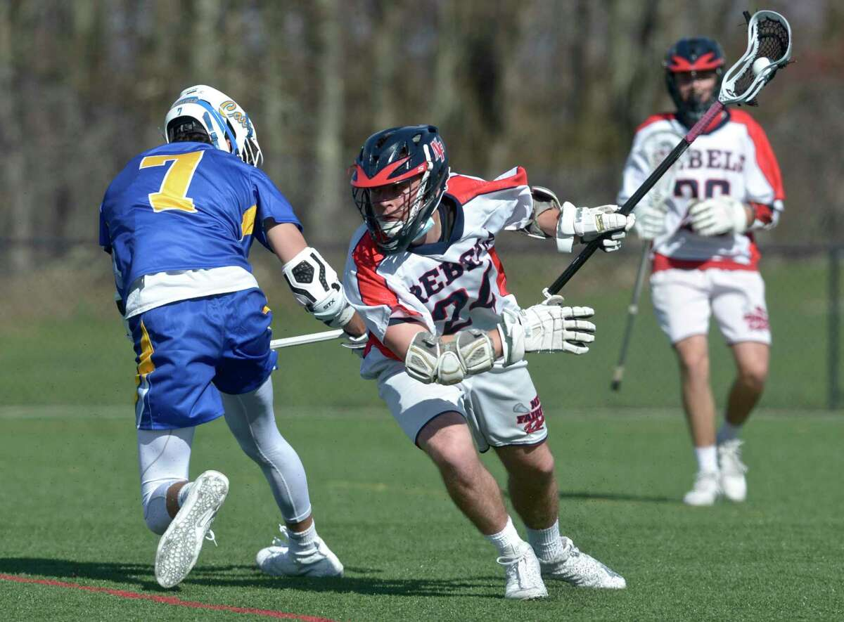 Action from a boys lacrosse game between Brookfield and New Fairfield earlier this season.