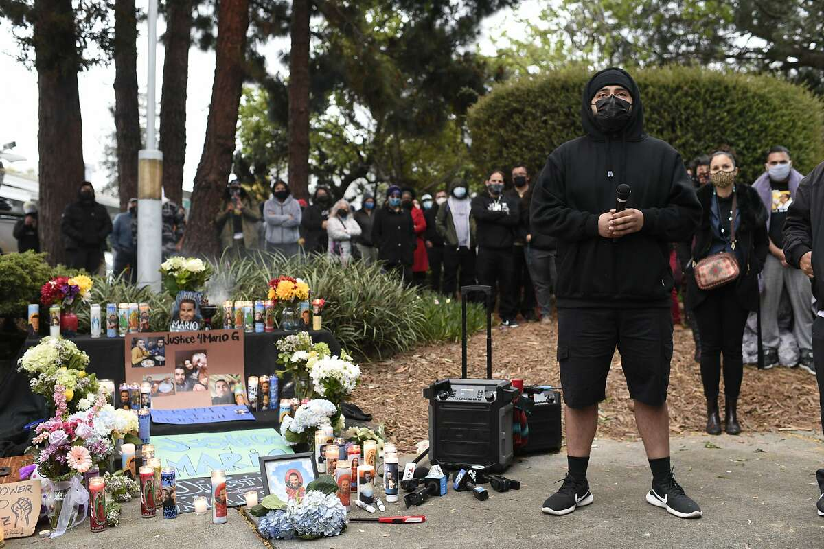 Gerardo Gonzalez, the brother of Mario Gonzalez, pauses while speaking at a press conference to demand answers from Alameda police about the death of Mario Gonzalez in Alameda, Calif. on Wednesday, Apr 21, 2021.