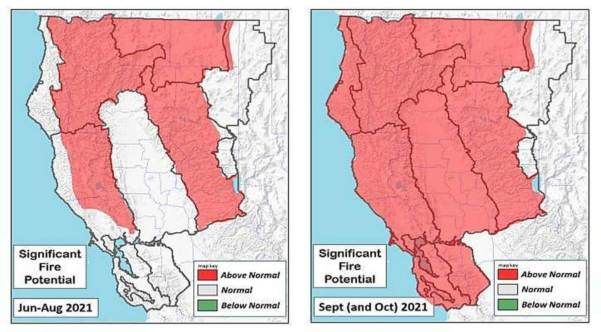Maps from the Northern California Geographic Coordination Center show areas of the north state with above-normal significant fire potential from June through September and October 2021.