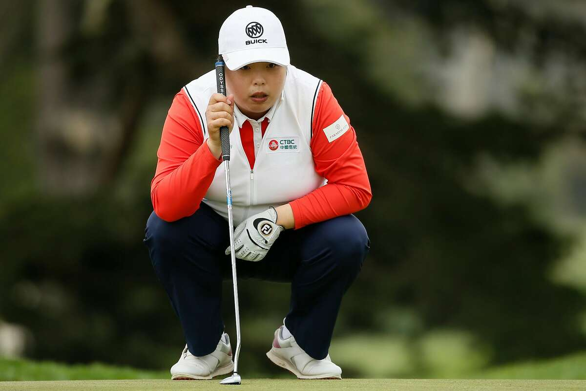 Shanshan Feng of China lines up her putt on the 11th hole during the first round of the 76th U.S. Women's Open Championship at the Olympic Club, Thursday, June 3, 2021, in San Francisco, Calif.