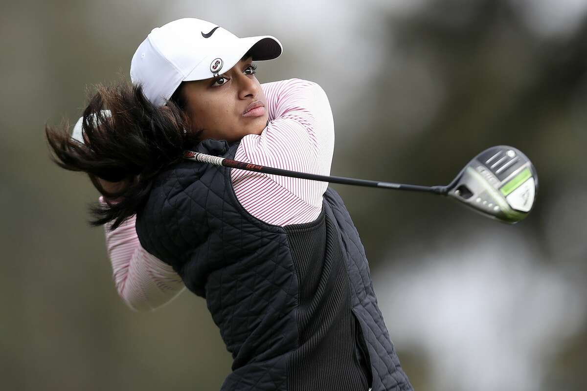 Megha Ganne plays her shot from the 17th tee during the first round of the U.S. Women's Open at the Olympic Club on Thursday. Ganne shot 67 and shares the lead with Mel Reid.