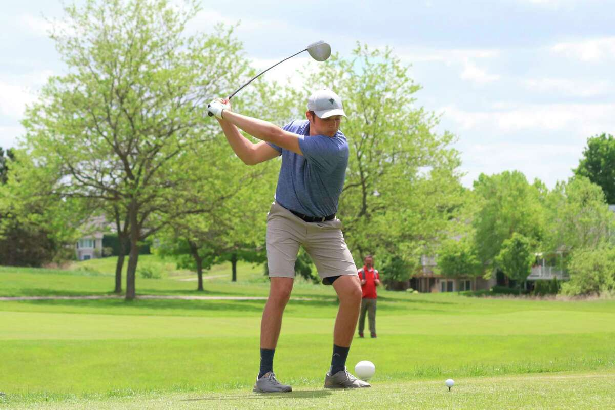 Adam Mills golfs during a match earlier this spring. (Record Patriot file photo)
