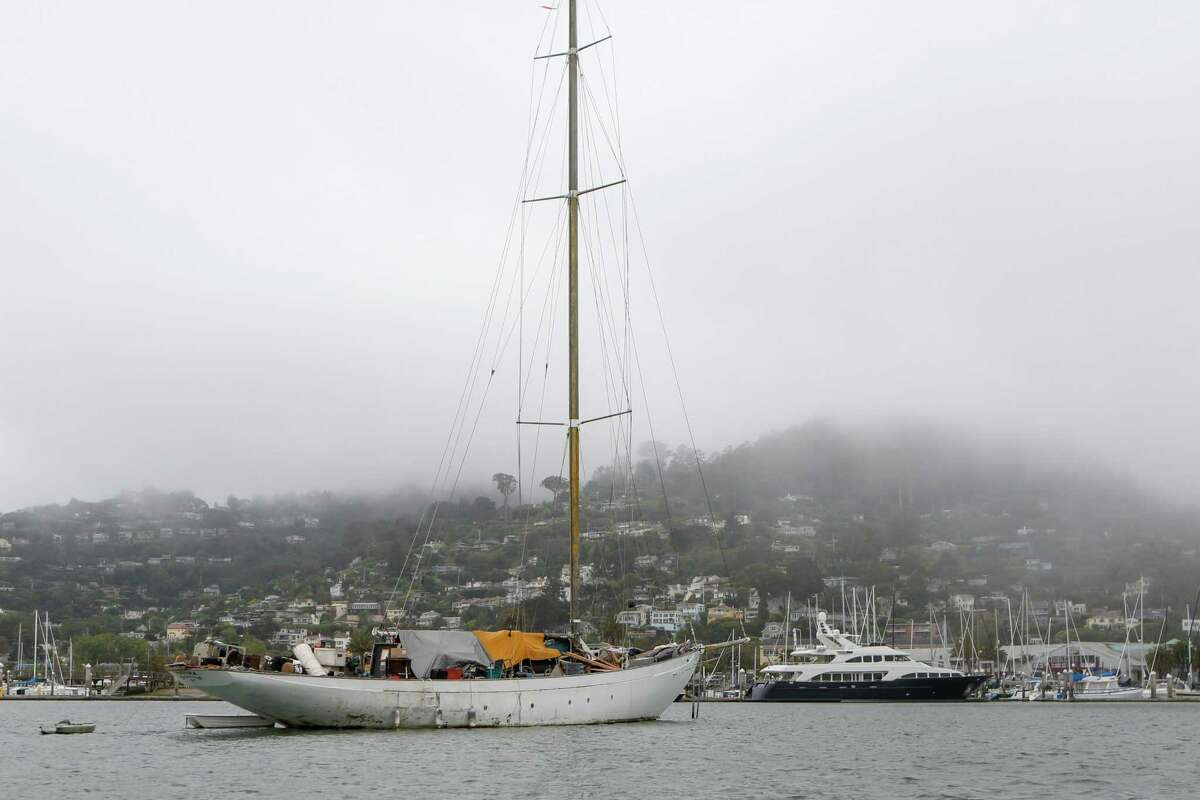 Live-aboard boats are seen in anchorage in the middle of Richardson Bay.