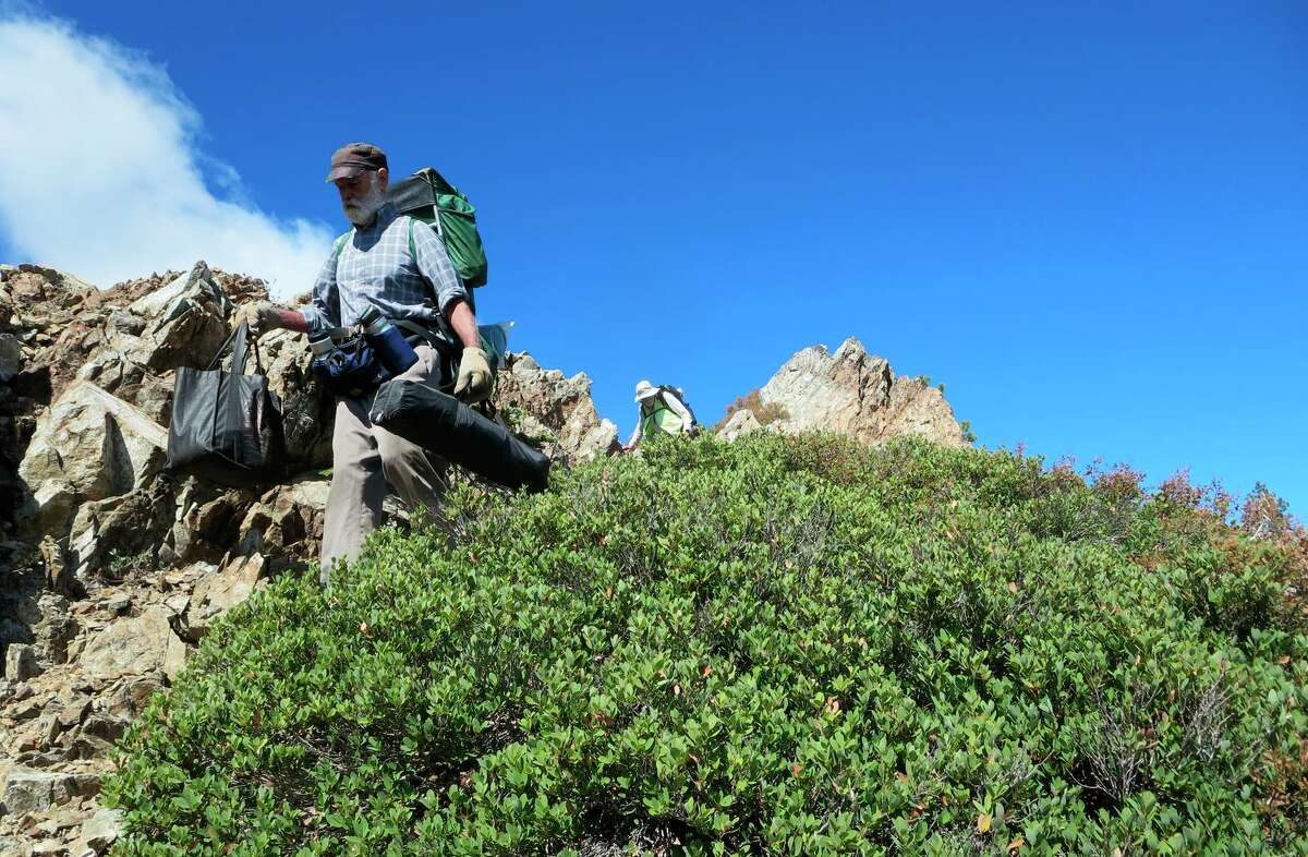 Tim Holt hikes the Pacific Crest Trail along upper slopes of Mount Shasta, where he feels a spiritual presence.