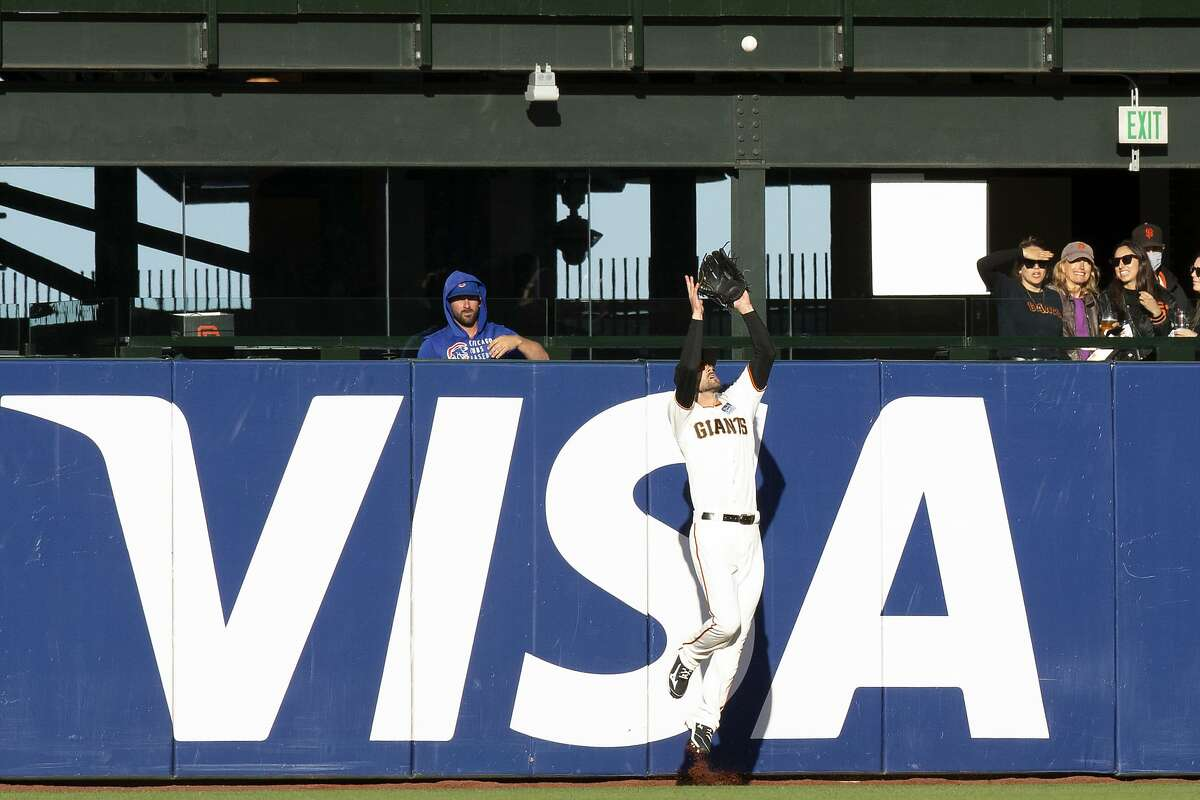 San Francisco Giants center fielder Steven Duggar (6) leaps at the fence to rob Chicago Cubs' Joc Pederson of a home run during the first inning of game, Thursday, June 3, 2021, in San Francisco. (AP Photo/D. Ross Cameron)