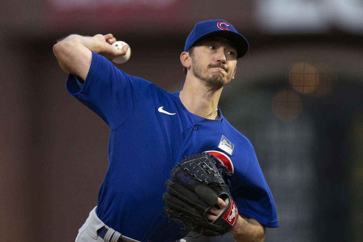 Chicago Cubs starting pitcher Zach Davies throws to a San Francisco Giants batter during the fifth inning of a baseball game Thursday, June 3, 2021, in San Francisco. (AP Photo/D. Ross Cameron)