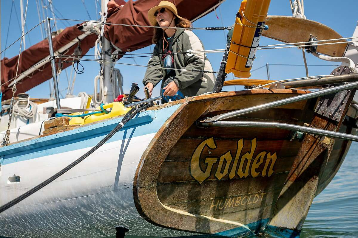 Golden Rule project manager Helen Jaccard prepares the ship for a crossing from Sausalito to Berkeley.