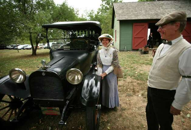 Gwen and Parker Ackley of Fairfield show off their 1915 Dodge Brothers Touring Car at the annual Fall Festival at the Fairfield Museum and History Center on Sunday, September 12, 2010. Photo: Brian A. Pounds / Connecticut Post