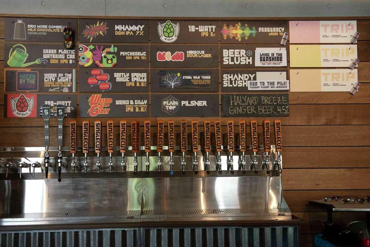 List of SingleCut's brews and its new Trip Hard Seltzer at SingleCut Beersmiths in Albany. (Lori Van Buren/Times Union)